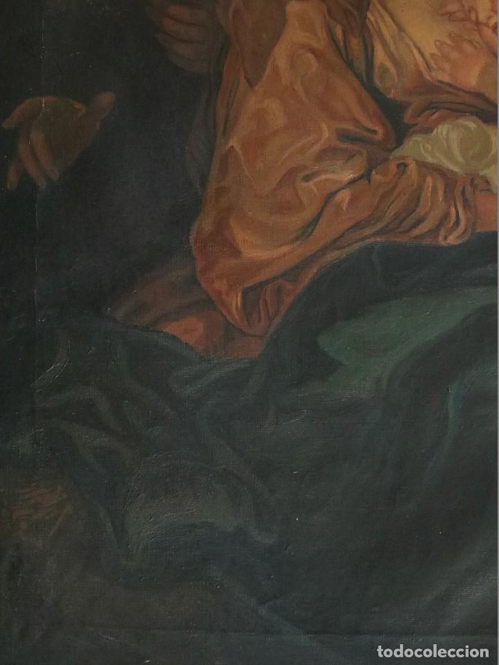 Arte: La Sagrada Familia. Óleo sobre lienzo con dimensiones de 88 x 63 cm. Med. S. XX. - Foto 11 - 277538108