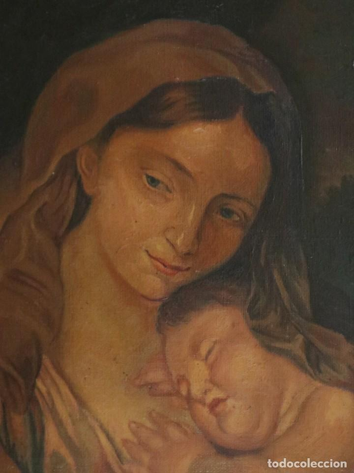 Arte: La Sagrada Familia. Óleo sobre lienzo con dimensiones de 88 x 63 cm. Med. S. XX. - Foto 12 - 277538108