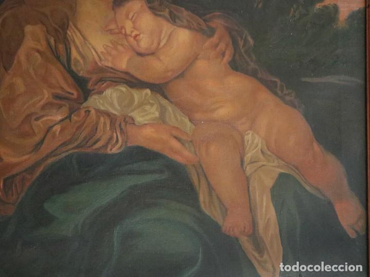 Arte: La Sagrada Familia. Óleo sobre lienzo con dimensiones de 88 x 63 cm. Med. S. XX. - Foto 13 - 277538108
