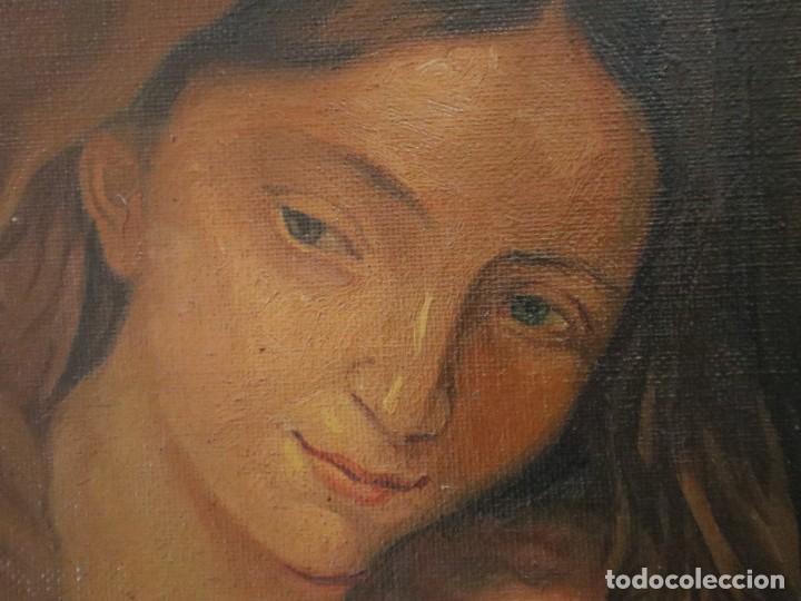 Arte: La Sagrada Familia. Óleo sobre lienzo con dimensiones de 88 x 63 cm. Med. S. XX. - Foto 19 - 277538108