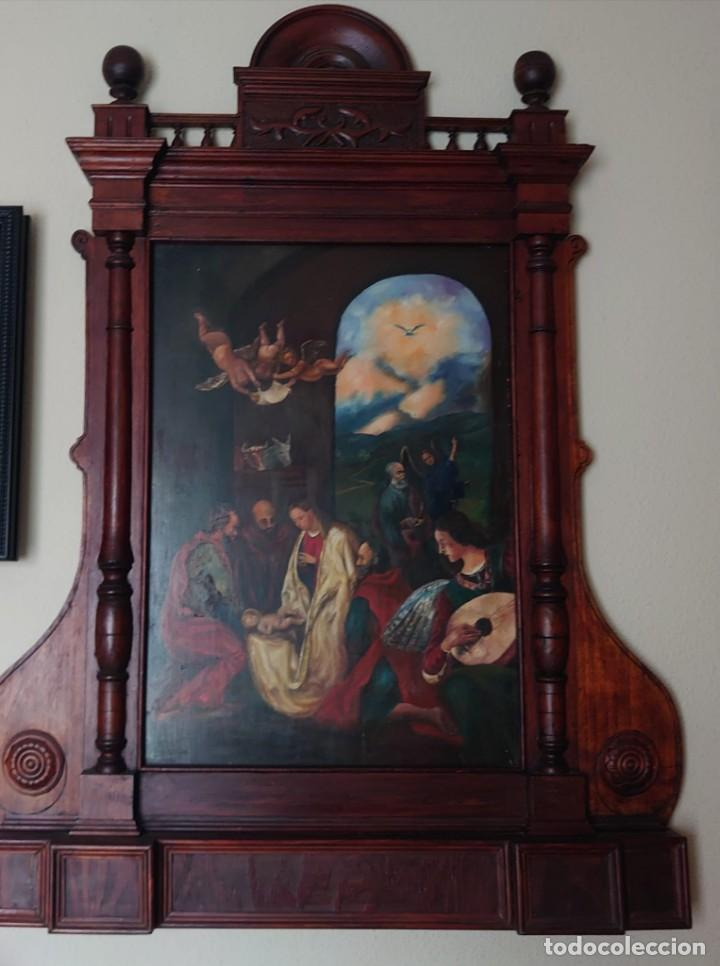 OLEO SOBRE TABLA LA ADORACION MAGOS RETABLO NEOCLASICO (Arte - Arte Religioso - Retablos)