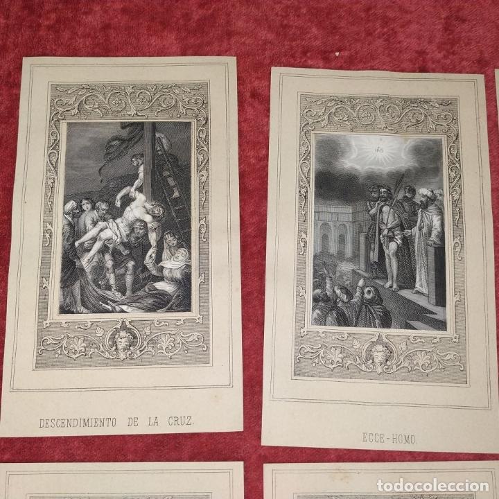 Arte: 14 ESTAMPAS RELIGIOSAS. VIDA DE JESÚS. GRABADO SOBRE PAPEL. ESPAÑA. SIGLO XIX - Foto 3 - 277601878