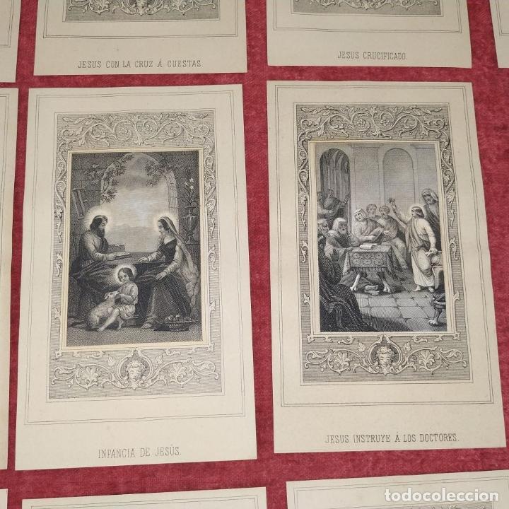 Arte: 14 ESTAMPAS RELIGIOSAS. VIDA DE JESÚS. GRABADO SOBRE PAPEL. ESPAÑA. SIGLO XIX - Foto 8 - 277601878