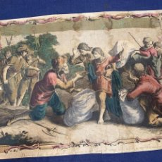 Arte: GRABADO LATIN COLOREADO S XVIII CASA JOSUE BENJAMIN GENESIS PASAJE BIBLICO 39X50CMS. Lote 278229733