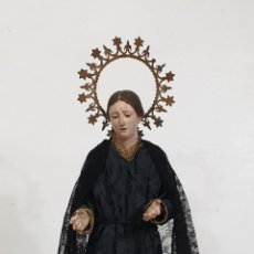 Arte: VIRGEN DOLOROSA - CAP Y POTA - TALLA EN MADERA POLICROMADA - ALTURA 65 CM - S. XIX. Lote 278274343