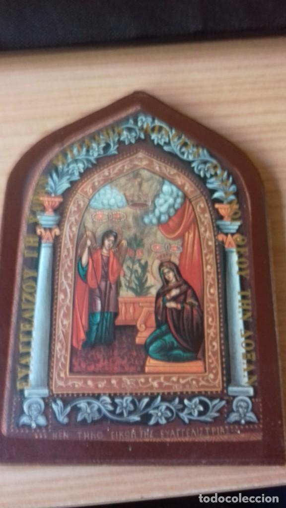 Arte: Icono relijioso Griego impresion en madera - Foto 5 - 278351248