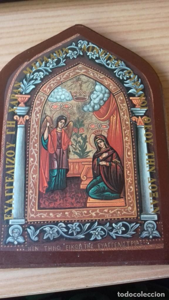 Arte: Icono relijioso Griego impresion en madera - Foto 8 - 278351248