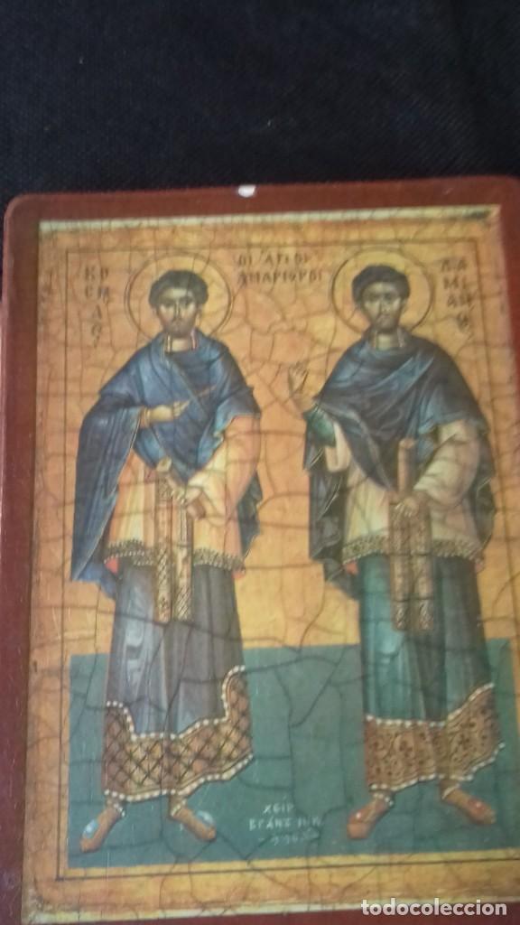 Arte: Icono relijioso Griego impresion en madera de dos Santos - Foto 2 - 278353248