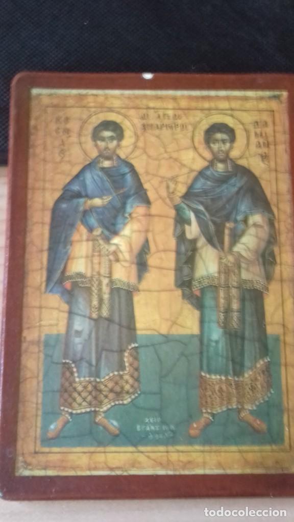 Arte: Icono relijioso Griego impresion en madera de dos Santos - Foto 9 - 278353248