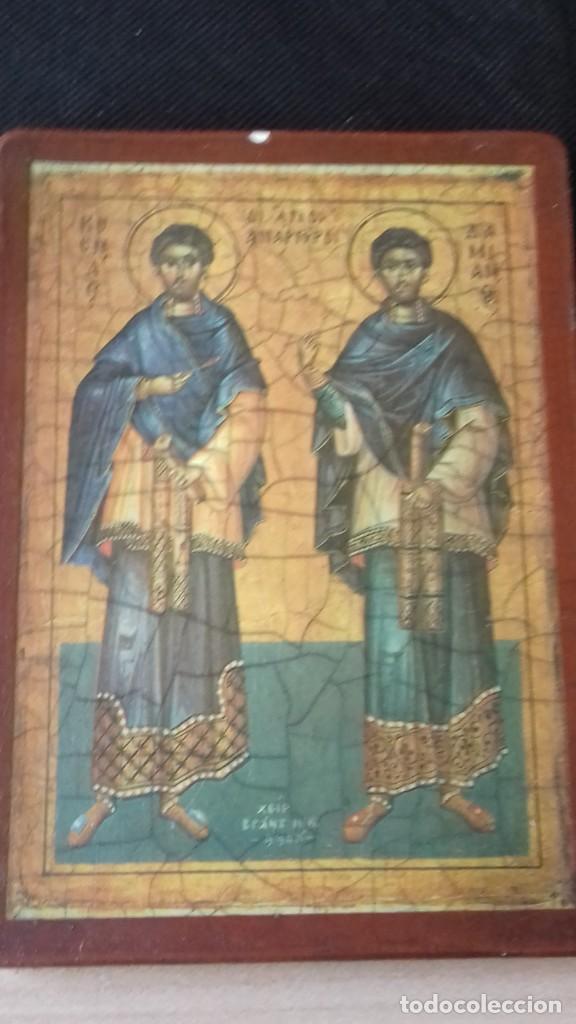Arte: Icono relijioso Griego impresion en madera de dos Santos - Foto 10 - 278353248