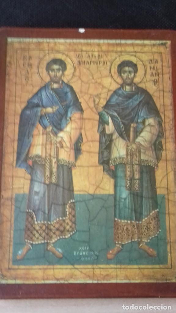 Arte: Icono relijioso Griego impresion en madera de dos Santos - Foto 11 - 278353248
