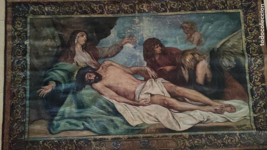 Arte: TAPIZ PINTADO, DESCENDIMIENTO DE JESUS, UNICO EN T.C. 100 AÑOS - Foto 7 - 278401348