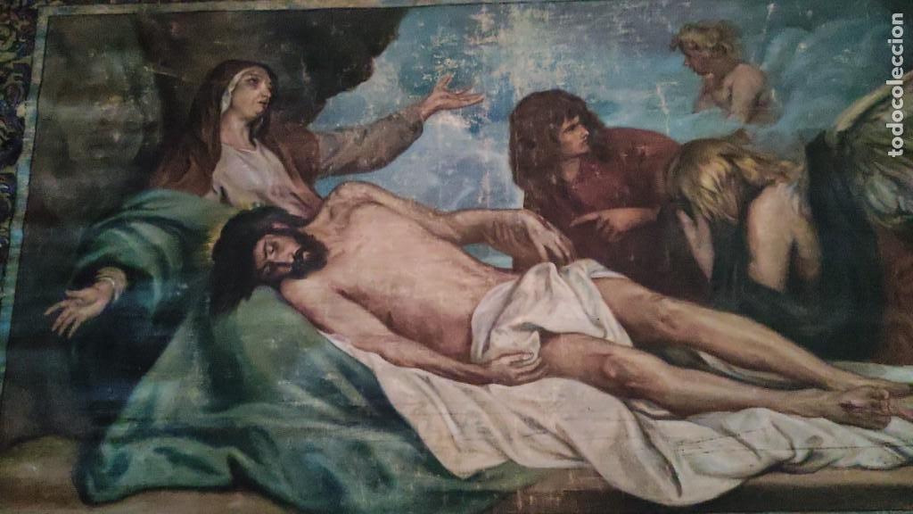 Arte: TAPIZ PINTADO, DESCENDIMIENTO DE JESUS, UNICO EN T.C. 100 AÑOS - Foto 2 - 278401348