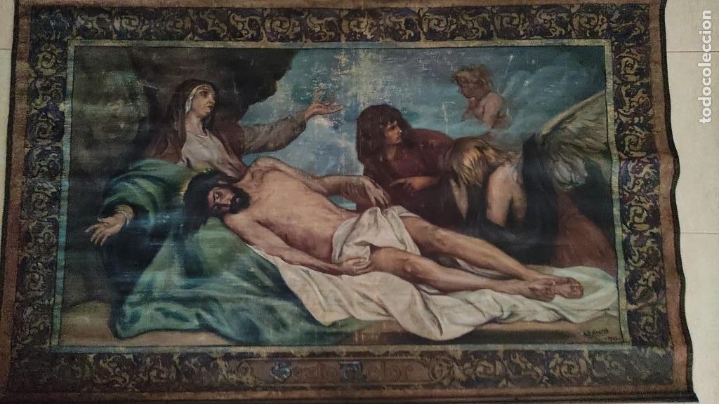 TAPIZ PINTADO, DESCENDIMIENTO DE JESUS, UNICO EN T.C. 100 AÑOS (Arte - Arte Religioso - Pintura Religiosa - Oleo)