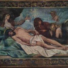 Arte: TAPIZ PINTADO, DESCENDIMIENTO DE JESUS, UNICO EN T.C. 100 AÑOS. Lote 278401348