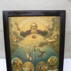 Arte: 47 CM - LA OMNIPRESENCIA DE DIOS - ANTIGUA BELLA LITOGRAFÍA RELIGIOSA COLOR C.1900 - CROMOLITOGRAFÍA. Lote 278621108