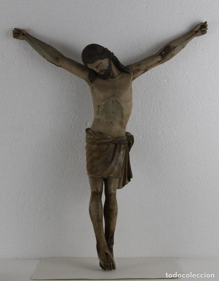 CRISTO GRAN TAMAÑO EN MADERA TALLADA Y POLICROMADA DEL SIGLO XIX (Arte - Arte Religioso - Escultura)