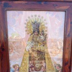 Arte: ANTIGUA LITOGRAFÍA DE GRAN TAMAÑO DE LA VIRGEN DE LOS DESAMPARADOS DE DURA CON EL MARCO DE SABINA. Lote 278797603