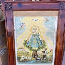 Arte: ANTIGUA LITOGRAFÍA MATEU IMAGEN DE MARÍA SANTÍSIMA DE CORTES DE GRAN TAMAÑO EL MARCO ES DE SABINA. Lote 278808533