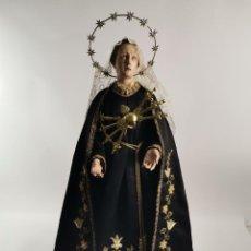 Arte: VIRGEN DOLOROSA EN TALLA DE MADERA CAP I POTA. S.XIX. CON VESTIDOS.. Lote 278832703