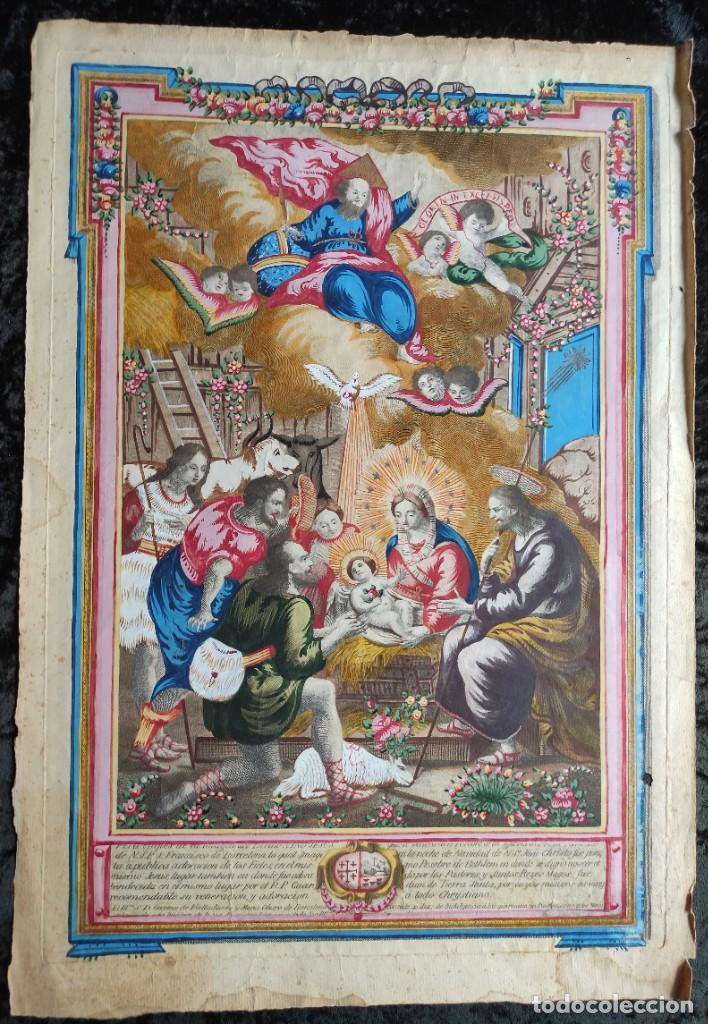 RARO Y UNICO GRABADO ILUMINADO ADORACION NIÑO JESUS - S.VIII - BARCELONA (Arte - Arte Religioso - Grabados)