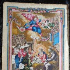 Arte: RARO Y UNICO GRABADO ILUMINADO ADORACION NIÑO JESUS - S.VIII - BARCELONA. Lote 279351583
