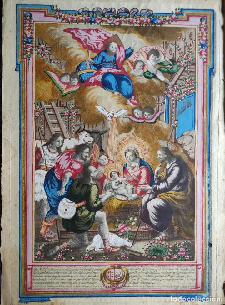 Arte: RARO Y UNICO GRABADO ILUMINADO ADORACION NIÑO JESUS - S.VIII - BARCELONA - Foto 2 - 279351583