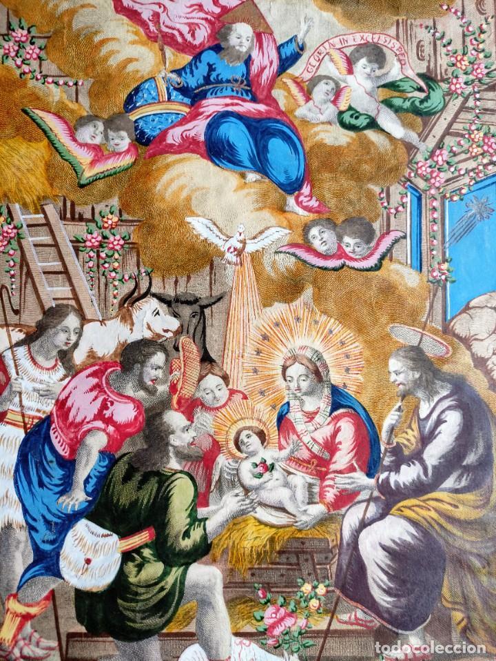 Arte: RARO Y UNICO GRABADO ILUMINADO ADORACION NIÑO JESUS - S.VIII - BARCELONA - Foto 3 - 279351583
