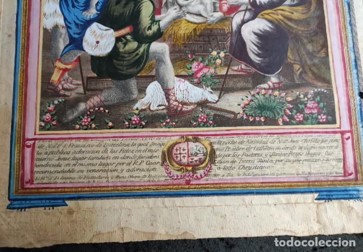 Arte: RARO Y UNICO GRABADO ILUMINADO ADORACION NIÑO JESUS - S.VIII - BARCELONA - Foto 4 - 279351583