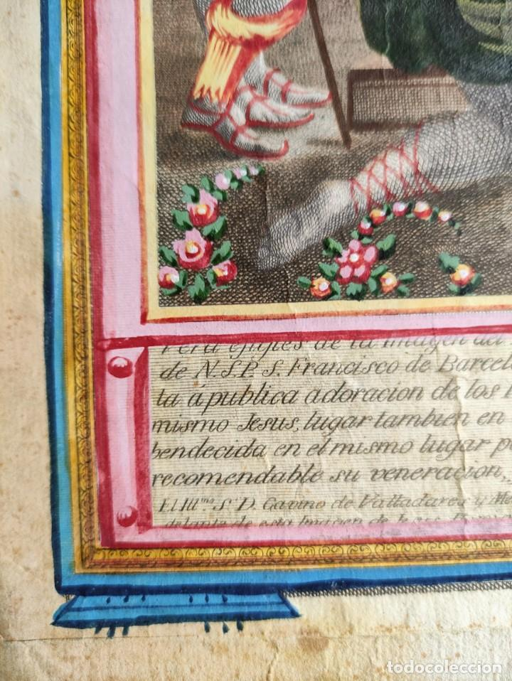 Arte: RARO Y UNICO GRABADO ILUMINADO ADORACION NIÑO JESUS - S.VIII - BARCELONA - Foto 5 - 279351583