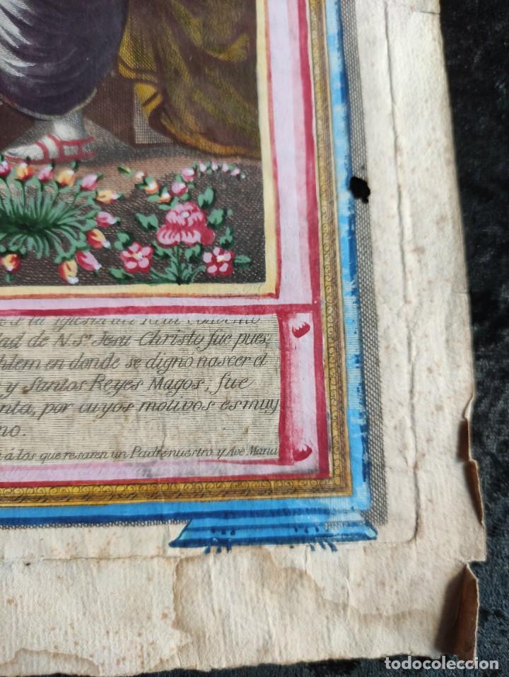 Arte: RARO Y UNICO GRABADO ILUMINADO ADORACION NIÑO JESUS - S.VIII - BARCELONA - Foto 7 - 279351583