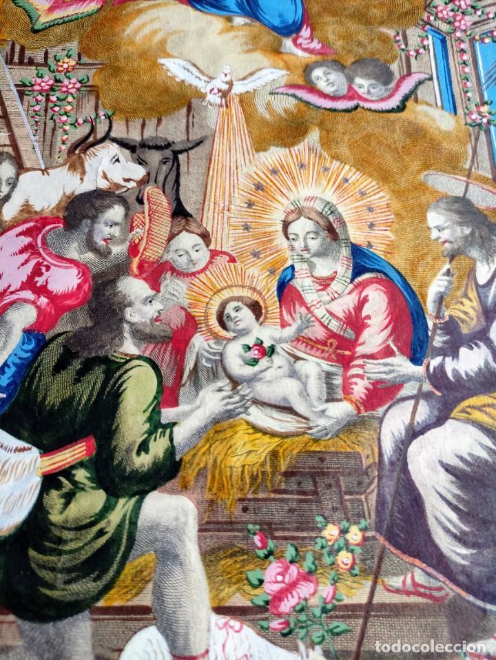 Arte: RARO Y UNICO GRABADO ILUMINADO ADORACION NIÑO JESUS - S.VIII - BARCELONA - Foto 8 - 279351583