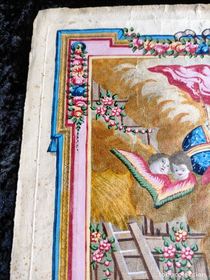 Arte: RARO Y UNICO GRABADO ILUMINADO ADORACION NIÑO JESUS - S.VIII - BARCELONA - Foto 9 - 279351583