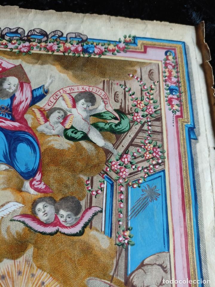 Arte: RARO Y UNICO GRABADO ILUMINADO ADORACION NIÑO JESUS - S.VIII - BARCELONA - Foto 10 - 279351583