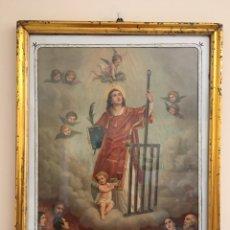 Arte: ANTIGUA LITOGRAFIA - SAN LORENZO - CON MARCO DORADO EN PAN DE ORO - SIGLO XIX. Lote 279557138