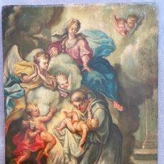 Arte: SAN ANTONIO DE PADUA CON LA VIRGEN Y EL NIÑO S. XVIII - XIX , ÓLEO TABLA , RELIGIOSO. Lote 279588168