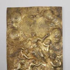 Arte: PLACA BRONCE DORADO AL MERCURIO-BAJORRELIEVE ORFEBRERIA MAESTRIA S. XVIII-XIX-ASUNCION VIRGEN MARIA. Lote 280784358