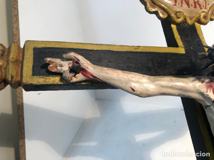 Arte: BONITA CRUZ Y CRISTO DE TALLA MADERA ANTIGUO. CIRCA SIGLO XVIII. - Foto 5 - 282211623