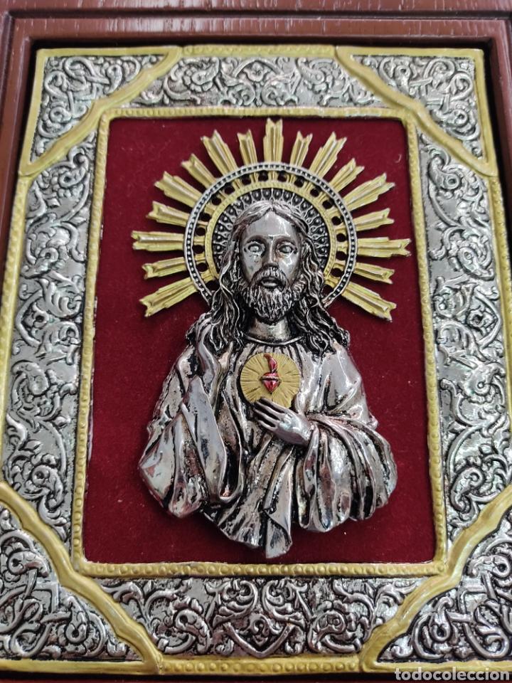 Arte: GRAN RETABLO DE MADERA CON ICONOS BIZANTINOS Y SAGRADO CORAZON DE JESUS Rara pieza de Coleccionismo - Foto 2 - 283785403