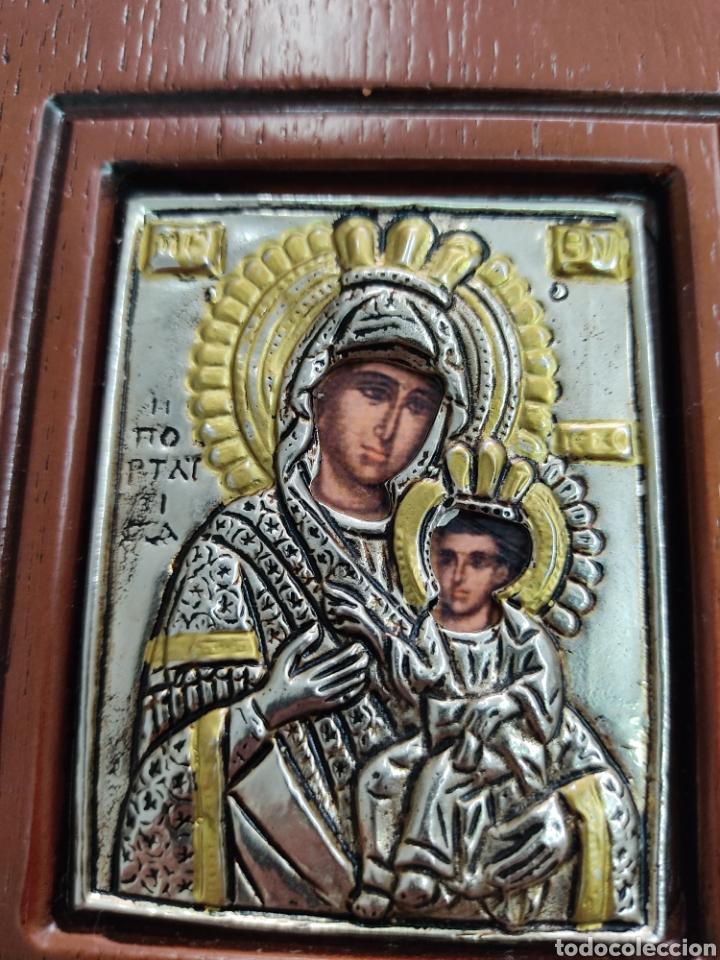 Arte: GRAN RETABLO DE MADERA CON ICONOS BIZANTINOS Y SAGRADO CORAZON DE JESUS Rara pieza de Coleccionismo - Foto 3 - 283785403