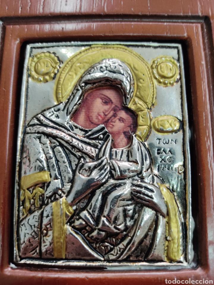 Arte: GRAN RETABLO DE MADERA CON ICONOS BIZANTINOS Y SAGRADO CORAZON DE JESUS Rara pieza de Coleccionismo - Foto 4 - 283785403