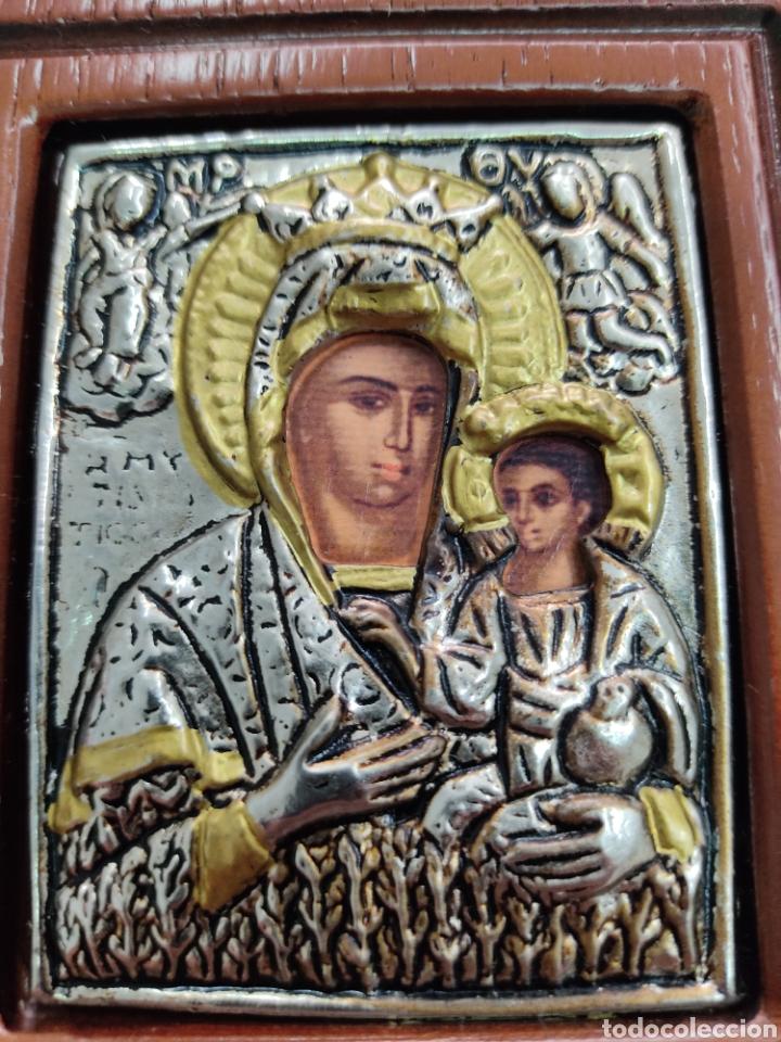 Arte: GRAN RETABLO DE MADERA CON ICONOS BIZANTINOS Y SAGRADO CORAZON DE JESUS Rara pieza de Coleccionismo - Foto 5 - 283785403