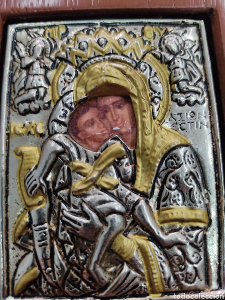 Arte: GRAN RETABLO DE MADERA CON ICONOS BIZANTINOS Y SAGRADO CORAZON DE JESUS Rara pieza de Coleccionismo - Foto 6 - 283785403