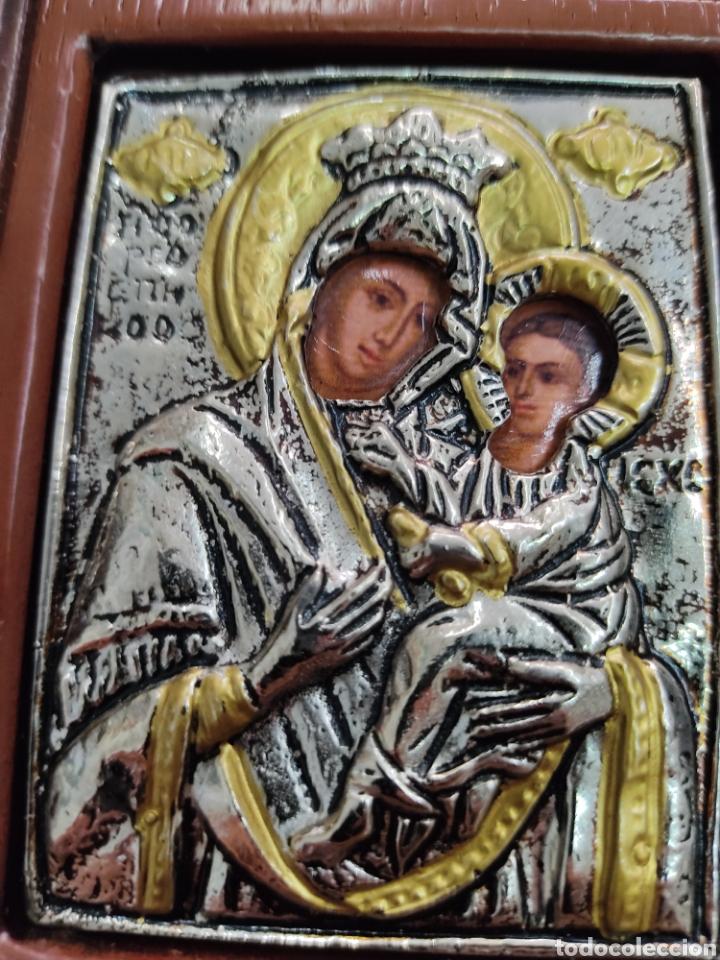 Arte: GRAN RETABLO DE MADERA CON ICONOS BIZANTINOS Y SAGRADO CORAZON DE JESUS Rara pieza de Coleccionismo - Foto 7 - 283785403