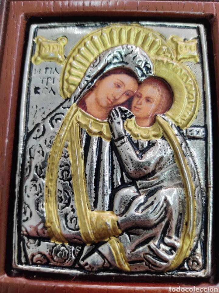 Arte: GRAN RETABLO DE MADERA CON ICONOS BIZANTINOS Y SAGRADO CORAZON DE JESUS Rara pieza de Coleccionismo - Foto 8 - 283785403