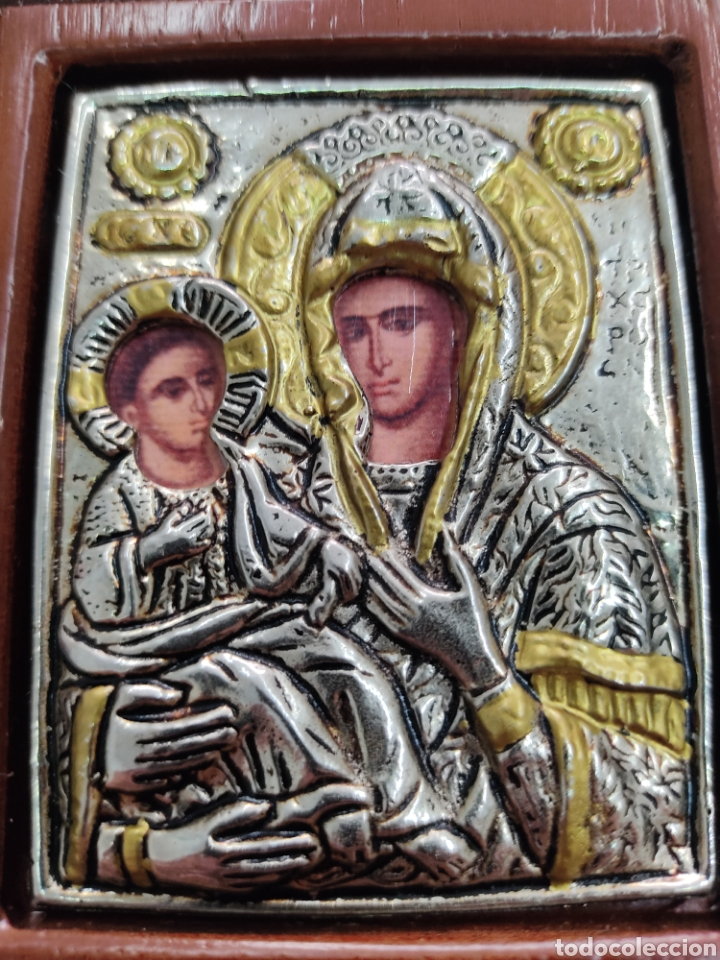 Arte: GRAN RETABLO DE MADERA CON ICONOS BIZANTINOS Y SAGRADO CORAZON DE JESUS Rara pieza de Coleccionismo - Foto 9 - 283785403