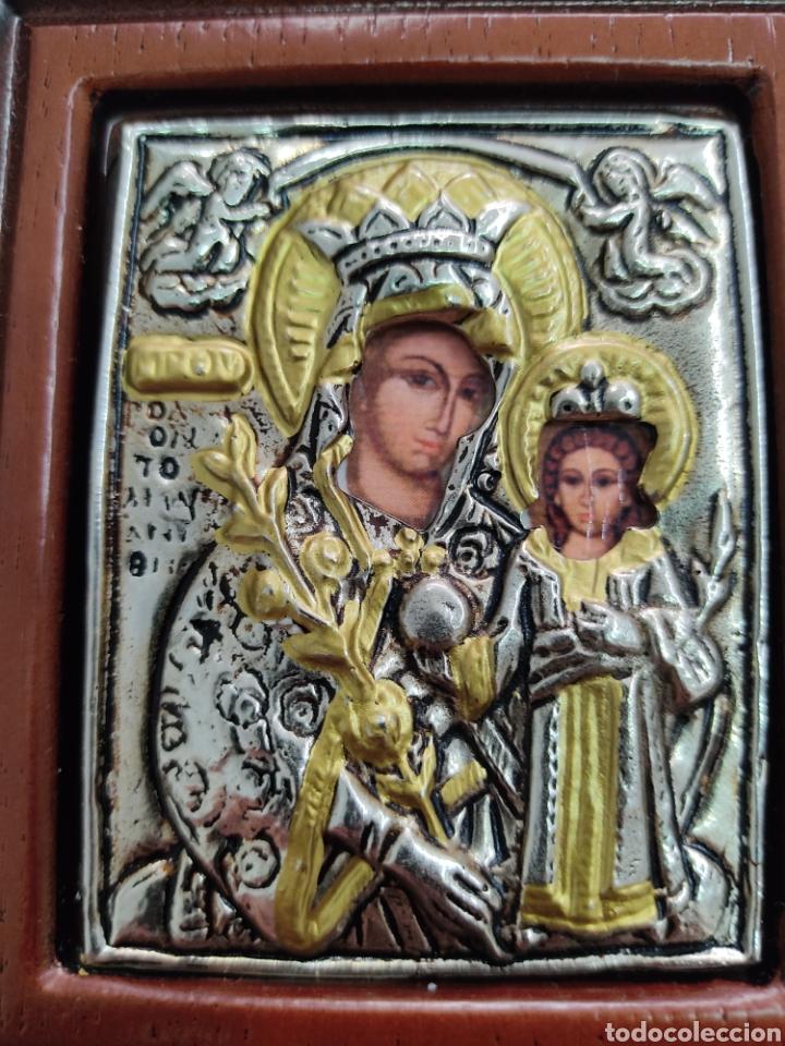 Arte: GRAN RETABLO DE MADERA CON ICONOS BIZANTINOS Y SAGRADO CORAZON DE JESUS Rara pieza de Coleccionismo - Foto 11 - 283785403