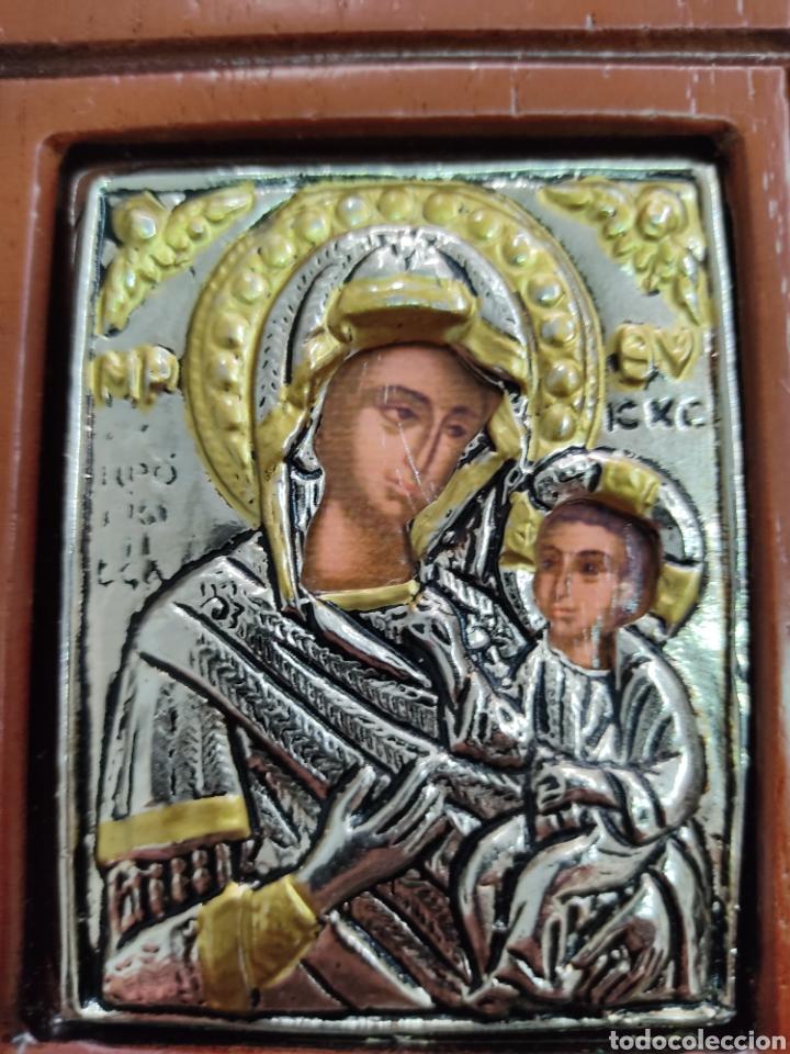 Arte: GRAN RETABLO DE MADERA CON ICONOS BIZANTINOS Y SAGRADO CORAZON DE JESUS Rara pieza de Coleccionismo - Foto 13 - 283785403
