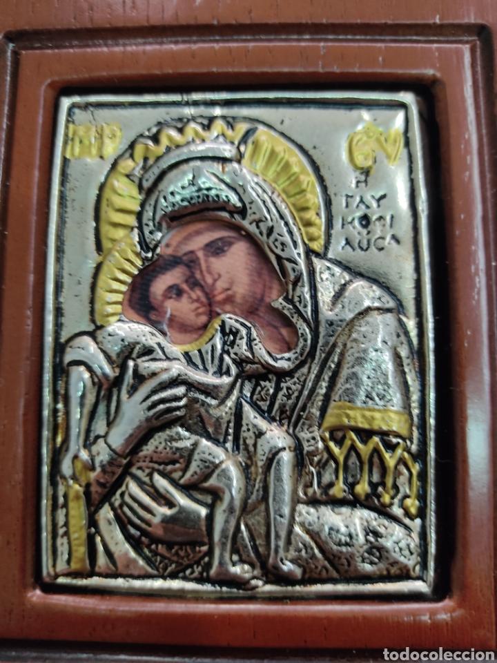 Arte: GRAN RETABLO DE MADERA CON ICONOS BIZANTINOS Y SAGRADO CORAZON DE JESUS Rara pieza de Coleccionismo - Foto 14 - 283785403