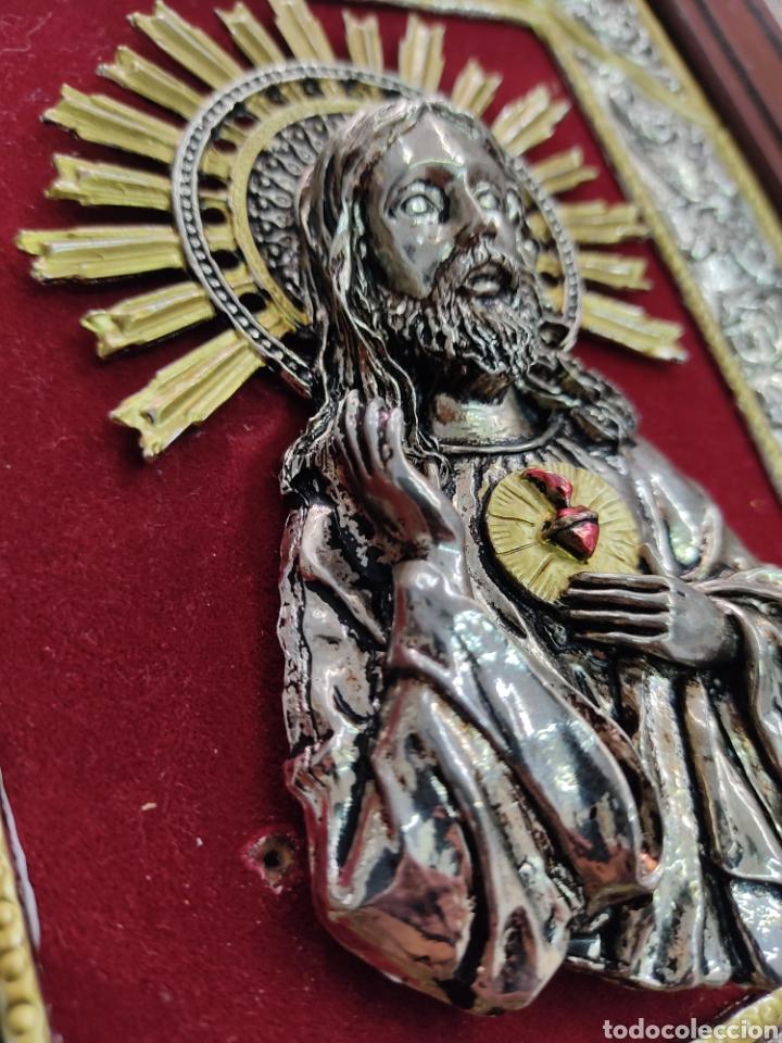 Arte: GRAN RETABLO DE MADERA CON ICONOS BIZANTINOS Y SAGRADO CORAZON DE JESUS Rara pieza de Coleccionismo - Foto 15 - 283785403